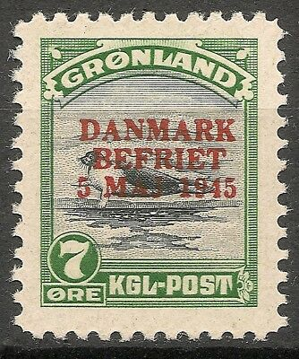 "GREENLAND 1945 ""Danmark Befriet"" American Issue 7 ore MNH VF Facit 21"