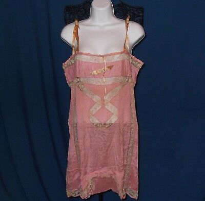Pink Silk Chemise Step Ins Teddy 1920s 1930s