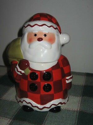 "Hallmark 8"" Tall Santa Claus w Red Plaid Suit Ceramic Canister UPC 015012829839"