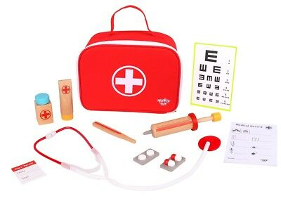 Wooden Doctor Nurse Bag Pretend Role Play Set / Kit Educational Toy (Medical)