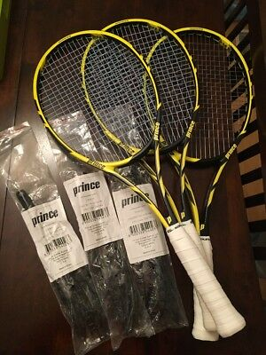 Lot Of 3 Prince Tour 95 - 4 5/8 Tennis Racquets With Grommet Sets Matched
