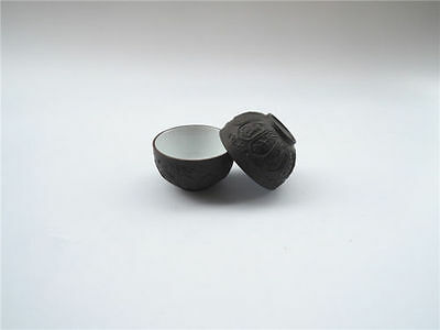 2 Pcs Chinese Hand Crafted lotus flower Yixing Zisha Gongfu Tea cups black Color