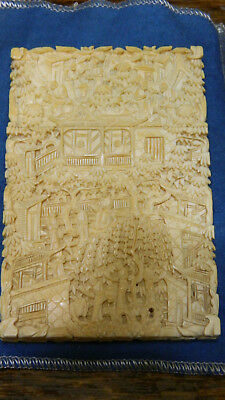 Antique Original Chinese export Cantonese Carved Card Case