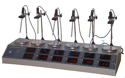 HJ-6A 6 Heads Multi  Digital Thermostatic Magnetic Stirrer Hotplate mixer Fast!!