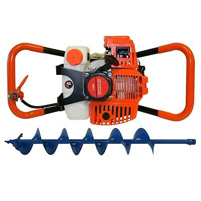 Post Hole Digger 62cc Petrol + 150mm Earth Auger Drill Bit Fence Borer Posthole