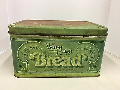 Vintage Wheat Heart Brand Bread Box Tin Green Kitchen Rustic 1970's Country