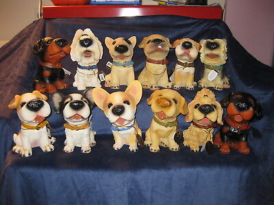 ***BIG NOSE DOG set of 12 Different Lovable cute adorable and Big 8 in Polyresin