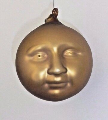 """DEPT 56 Frosted Mercury Glass MOON FACE CHRISTMAS ORNAMENT 5 1/2"""" Large  #9074-3"""