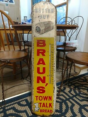 Rare Large Vintage Brauns Town Talk Bread Thermometer Sign Old Bakery Flour