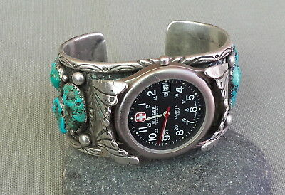 Vintage Native American Silver Turquoise Watch Cuff Bracelet 140.8 Grams