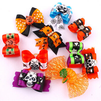 20pcs/lot Cute Halloween Dog Hair Bows Grooming Accessories for Long Hair Dogs