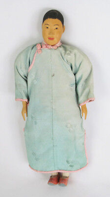 "Antique Chinese Door of Hope Pear Wood 10 1/2"" Woman Doll"