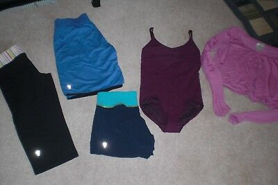 Lot of 2 pair of Girls Ivivva by Lululemon Shorts, Crops, one piece, Top sz 12