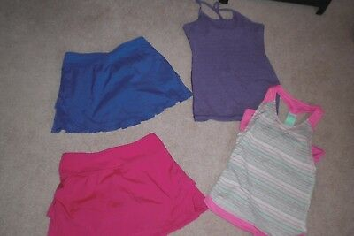 Lot of 2 Girls Ivivva by Lululemon Skorts and 2 Tank Tops sz 12