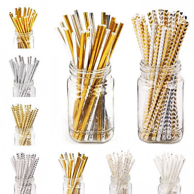 25PCS Gold Drinking Paper Straw Birthday Party Supplies Christmas Favors New