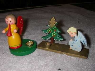 Vintage German Christmas wood Candle holder ornaments with Angels and tree