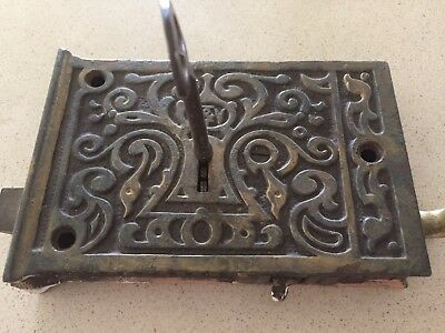 Vintage Historic Brass And Cast Front Door Mortice Lock And Key