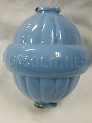 W.C. SHINN baby BLUE milk old lightening weathervane rod Glass Ball Lincoln NEB