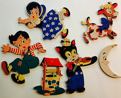 Vtg Dolly Toy Co. Jack & Jill Cat & Fiddle Moon Well Wall Decor Pin Ups 6 pc Lot
