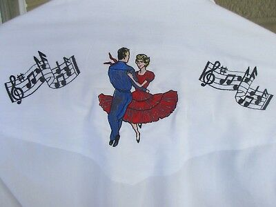 Sheplers Square Dance Western Embroidered White SHIRT Rockabilly Halloween S 14