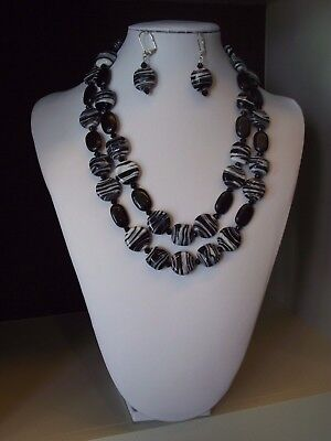 Zebra - Two Strand Necklace and Earrings Set
