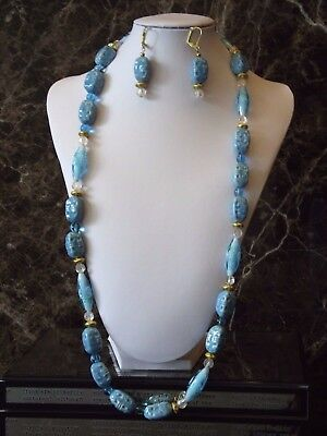 Blue Chinoiserie - Opera Length 33 inch Necklace and Earrings set