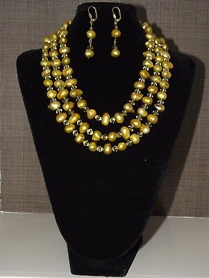 Golden Pearls - Triple Strand Freshwater Pearl Necklace and Earrings set
