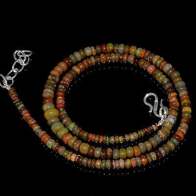 """51CRTS 3to6MM 18"""" ETHIOPIAN OPAL RONDELLE BEAUTIFUL BEADS NECKLACE OBI3142"""
