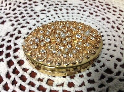 Vintage K&K KOTLER & KOPET Jeweled Compact pearls and rhinestone Gold tone Case