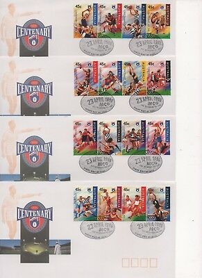 4x CENTENARY OF AFL First Day Covers - 1996