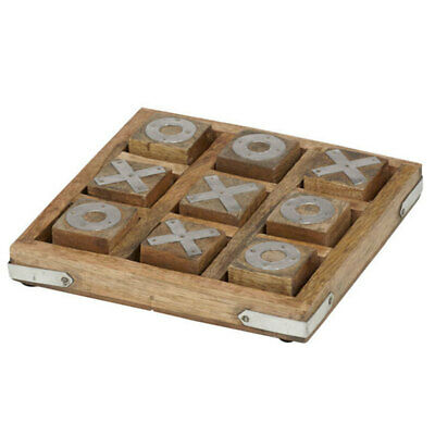 Amalfi 15cm Metal/Wooden Noughts and Crosses Game/Board/Decor/Play/Tic Ta Toe