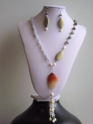 Ocean at Sunrise: A Beautiful Tassel Pendent Necklace and Statement Earrings Set