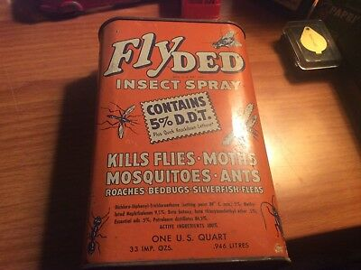 vintage Fly ded insect sray tin
