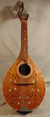 Antique 8 String Folk Art UNUSUAL Carved Mandolin w/ MOP Inlay Estate Fresh
