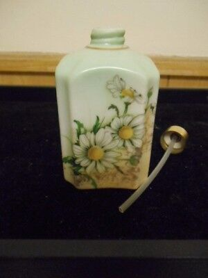 """Limoges China Porcelain Hand-Painted Daisy Floral 3 """" Perfume Bottle Free Ship"""