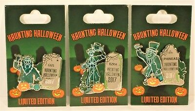 Disney Hitchhiking Ghost Haunted Mansion Halloween Ezra Phineas Gus 3 Pin LE SET