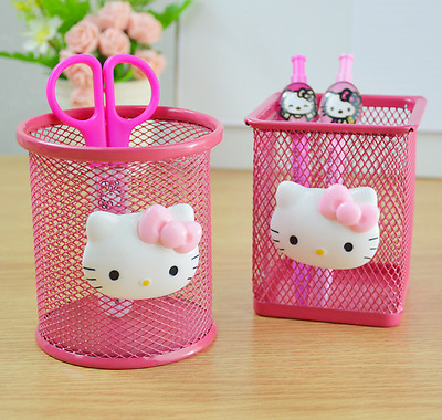 Hellokitty Hollow Metal Pencil Pen Holder Storage Box Stationery AAS5004a3 Round
