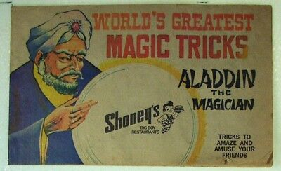 Shoney's Big Boy, Aladdin The Magician Magic Tricks 1976 Booklet