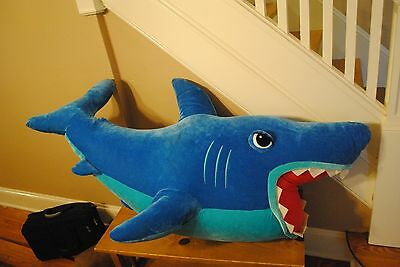 "GIANT JUMBO Blue Great White JabberJaw Shark HUGE 54"" Long 4 Foot+ WOW"