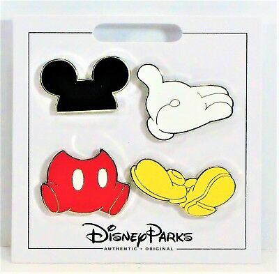 Disney 2017 Mickey Mouse With Hat Ears & White Gloves 4 Pin Mini Booster Set NEW