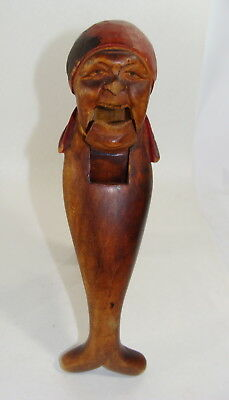 Antique Wood Carved Old GRANDMA Figural NUTCRACKER Black Forest SIGNED  AHAB