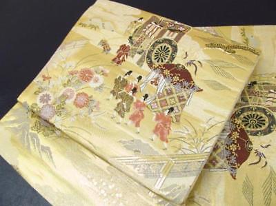 Japanese vintage antique OBI Heian Noble Embroidery Gold Leaf Silk FUKURO-OBI