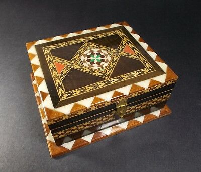 Small Hand Made Collectable Wood Inlay Trinket Jewelry Box