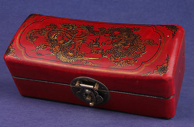 Chinese Leather Jewelry Box Ornament Collection Handmade Dragon Phoenix