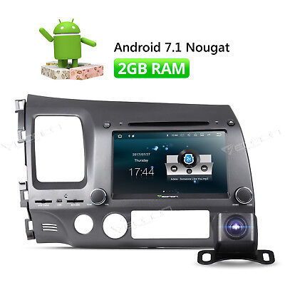 "8"" Head Unit Android 7.1 Car GPS Player 1024*600 MP3 for Honda Civic + Camera W"