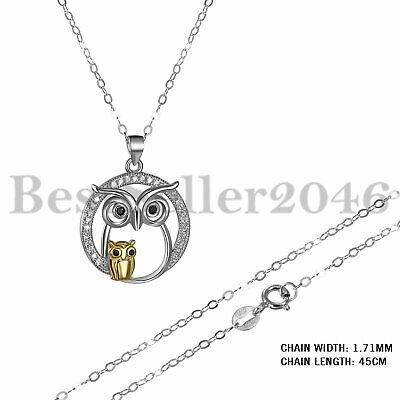 925 Sterling Silver Jewelry Mother And Child Owl Pendant Necklace Christmas Gift