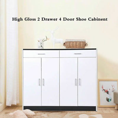 High Gloss Shoe Cabinet Up to 42 pair shoe Rack Storage Organiser Shelf Cupboard