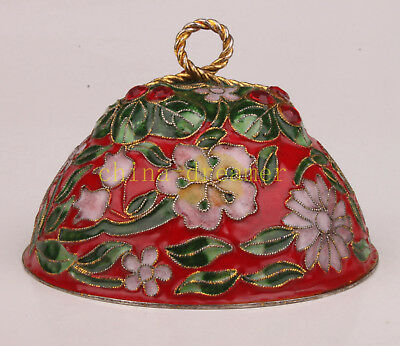 Cover Cloisonne Lid Peony Handmade Carving Handicraft Gift Collection