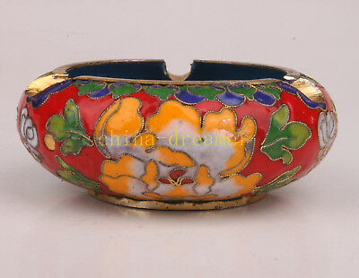 Cloisonne Ashtray Peony Carving Crafts Gift Handmade Collectable Old
