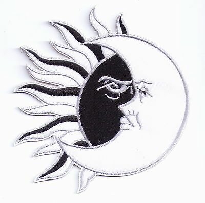 Fabric Black Sun White Moon Embroidered Iron On Patches or Sew on Appliques